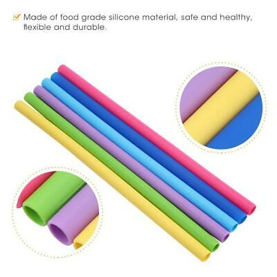 Reusable Silicone Drinking Straws Food Grade Straw with Cleaning Brushes Set CP