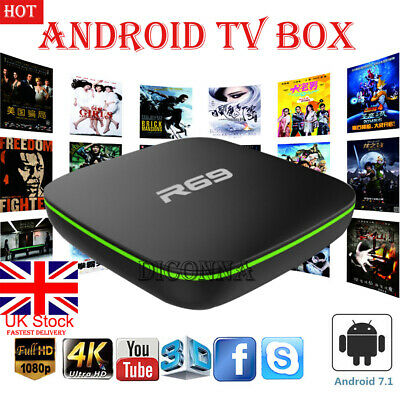 TV BOX SMART Android 7.1 2019 4K WiFi KDPLAYER Quad Core 3D Media Player UK