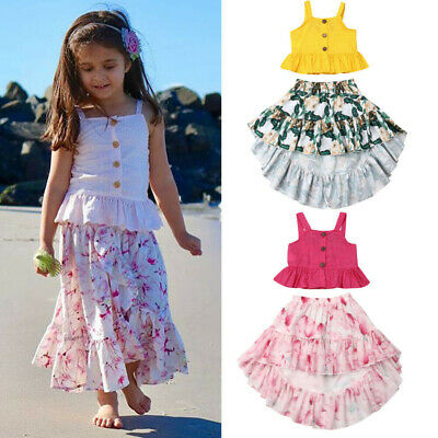 New Summer Kid Baby Girls Ruffle Sling Tops Floral Skirt Sunsuit Outfits 2pcs