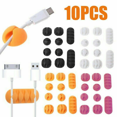 10Pcs/Set Cable Clip Desk Tidy Organiser Wire Cord Lead USB Charger Holder Fixer