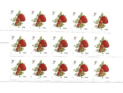 US Postage Stamps, STRAWBERRIES, SC 5201, 3 Cent, 15 Mint Coil Singles