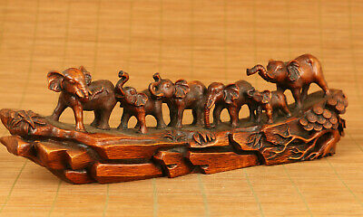 Rare Asian old boxwood Handcarved six Elephant statue collectable decorate gift
