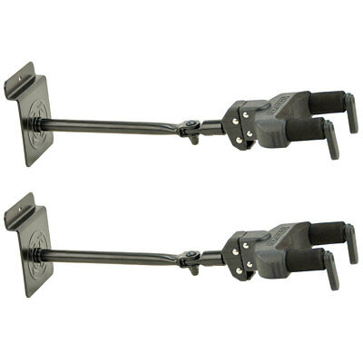 2x Hercules Slatwall Hanger Wall Mount/Holder for Guitar w/Auto-Grip AGS Black