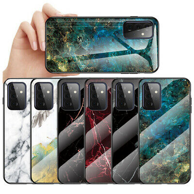 For Samsung Galaxy A70 A50 A40 A20e Marble Tempered Glass Hard Back Case Cover