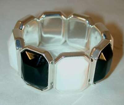 "Nice Art Deco 8"" Stretch Bracelet Multi-Faceted Black & White Chromed Rectangles"