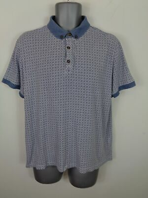 Mens Red Herring White/Navy Patterned Button Up Short Sleeved Polo Shirt L Large