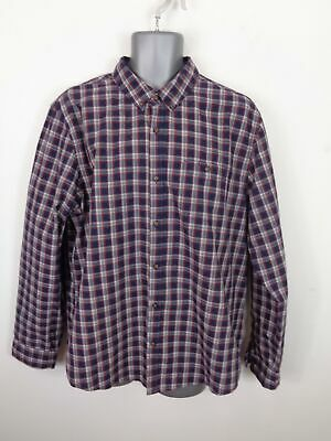 Mens Red Herring Navy/Red/White Checked Button Up Long Sleeved Shirt Xl Xlarge