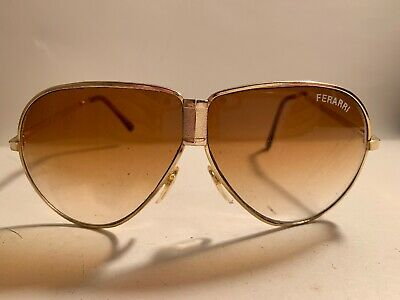 a445a1d53c VINTAGE FERRARI GOLD-FRAME Aviator Folding Sunglasses w Black Zip ...