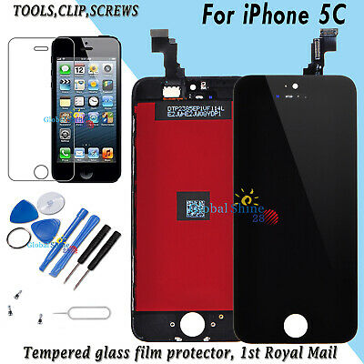 For iPhone 5C LCD Display Touch Screen Digitizer Black Frame + Tempered Glass UK