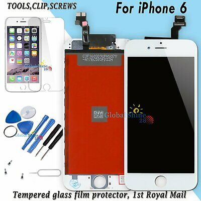 For iPhone 6 6G LCD Display Touch Screen Digitizer White Frame + Tempered Glass