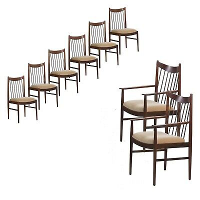 DANISH DINING CHAIRS | Rosewood Mid Century Modern Set of Eight Arne Vodder for