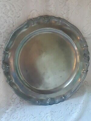 """1 VTG  PEWTER CHARGER PLATE 12 1/2"""" Very Heavy  FINSTAIN LES POTSTAINIERS HUTOIS"""