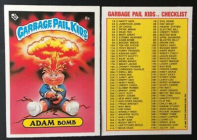 Adam Bomb 8a~UK Garbage Pail Kids Series 1 (1985)Check-List Card~ Pack Fresh