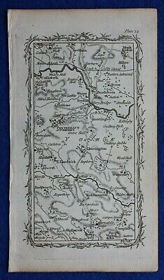 Rare antique road map YORKSHIRE, PONTEFRACT, DARRINGTON, Mostyn Armstrong, 1776