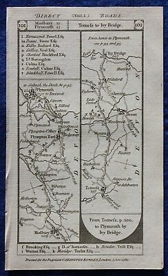 Original antique road map DEVON, MIDDLESEX, PLYMOUTH, LONDON, Paterson, 1785