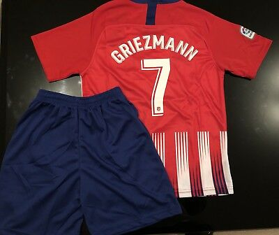 45e11087172 ATLETICO MADRID Home 2018 2019 Kids Kit AGE 8-9 with GRIEZMANN 7 print BRAND