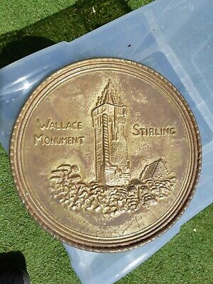 10 Inches Arts & Crafts Brass Wallace Monument Sterling Wall Plate     R20