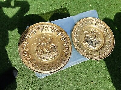2x 12 INCHES ARTS & CRAFTS BRASS GALLEON BOATS SHIP WALL PLATES             R22