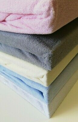 "Stretch Terry Toweling Fitted Sheet  10"" Extra Deep Single Double King 4 Colours"
