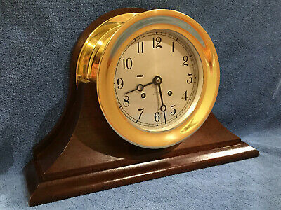 "Chelsea Ships Bell Clock with Mahogany Base Large 6"" Dial"