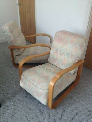 Pair of Mid Century Vintage Art Deco Bentwood Lounge Chairs