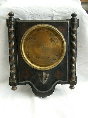 Antique-Carved Oak Ornate Wall Barometer-Restore-Bracher & Sydenham-London-c1900