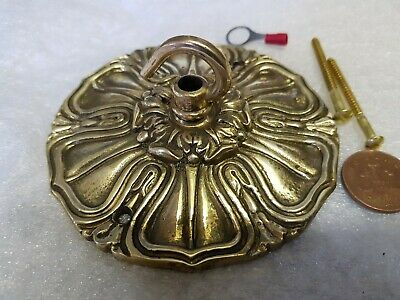 ANTIQUE brass CEILING ROSE 116mm French chandelier hook cast brass c1910 VINTAGE