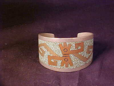 Taxco Mexico Cuff Bracelet  native motif Alpaca silver with brass/stones inlays