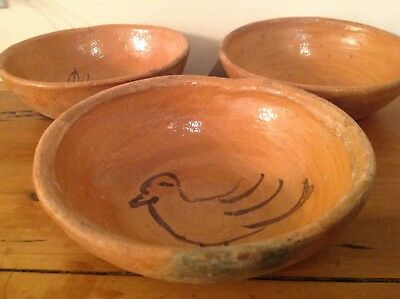 3 Mayan Aztec Mexican Pottery Clay Bowls Simple Crude Hand Painted Bird Drawings