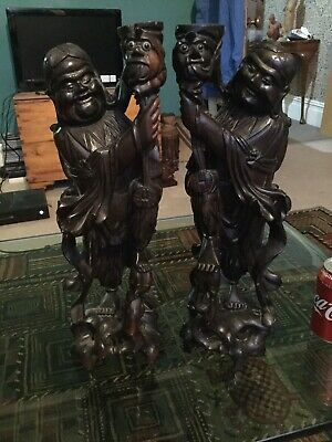 Pair of  Large Antique Chinese Carved Hard Wood Deities Lamp Stands With Label