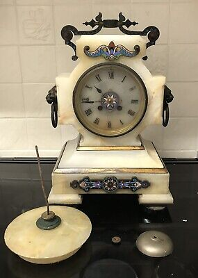 LARGE ONYX AND CHAMPLEVE ENAMEL MANTLE CLOCK CIRCA 1840s