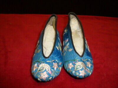 Vintage Japanese Child's Shoes Hand Made Embroidered on Silk Linen Inside C.1950