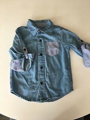 Baby Gap Toddler Long Sleeve Button Down Shirt 18-24 Months Chambray/Stripe