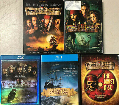 Pirates of the Caribbean 1 2 3 4 Plus The Lost Disc DVD Bluray Johnny Depp VG