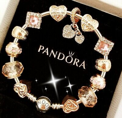 Authentic Pandora Bracelet Silver Bangle with Best Mom European Charm