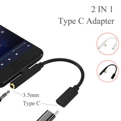 Charger Type C to 3.5 mm 2 in 1 Converter USB C Audio Cable Earphone Adapter