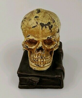 Antique 1900-1920 Bronze Skull on Book Stamped HS Bookend / paperweight