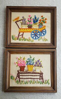 2 Vintage Completed Embroidery Garden Cart Bench Flowers Plastic Frame