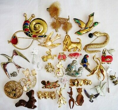 LARGE VINTAGE FIGURAL ANIMAL BROOCH PIN JEWELRY LOT Birds Cat JELLY BELLY