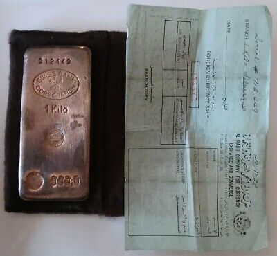 Vintage SWISS BANK CORPORATION  999 Fine 1 KILO Silver Poured KG Bar Ingot 31+Oz