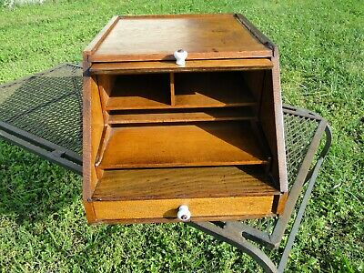 Vintage 1900 Slant Top Desk File Box Tiger Oak..globe Wernicke Rare Collectible
