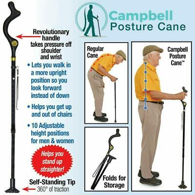 Posture Cane - Walking Cane with Adjustable Heights Lightweight for Old Man