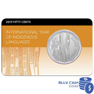 2019 Unc 50c International Year of Indigenous Languages Coin on Card