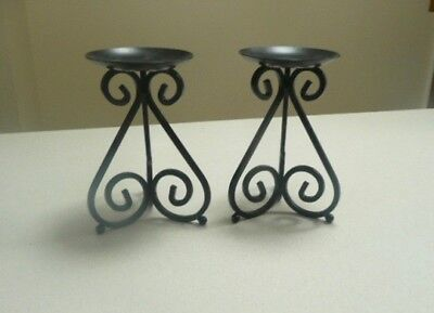 ORNATE PAIR of WROUGHT IRON  METAL SCROLLED PILLAR CANDLE HOLDERS CANDLE STANDS