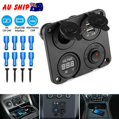 4 Way DC 12V-24V Car Cigarette Lighter Socket+Dual USB Charger Voltmeter Adapter
