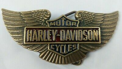 Vintage Harley Davidson Belt Buckle 1983 BARON Solid Brass H-518 Wings Red Blue