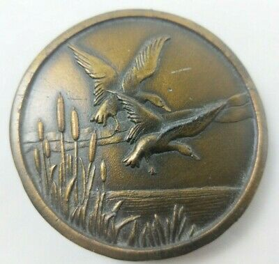 Vintage Solid Brass Belt Buckle by Indiana Metal Craft Ducks Flying Reeds 1976