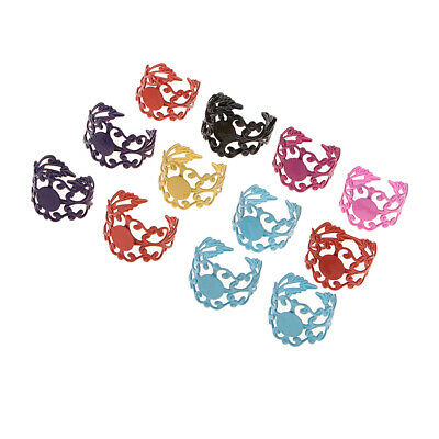 10 Pieces Ring Blanks Setting Base Hollowed Adjustable Flower Lace Hoops