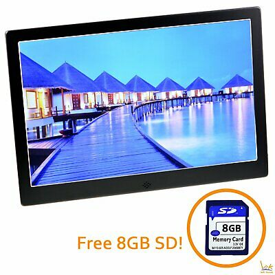 10'' LED HD Electronic Digital Photo Frame Picture MP4 Player (Black) w/ 8GB SD