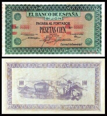 Facsimil Billete 100 Pesetas de 1937 Gijón NE - Reproduction